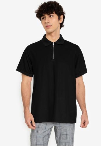 ZALORA BASICS black Zip-Up Polo Shirt 4DA5EAA5B224B6GS_1