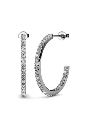 Her Jewellery silver Swarovski® Crystals - Simply Hoop Earrings (18K White Gold Plated) Her Jewellery HE581AC0RADSMY_1