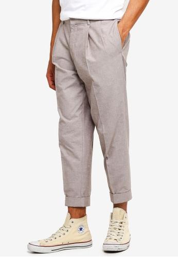 Topman beige Stone Tapered Smart Trousers 1CB1DAADC0B8D1GS_1