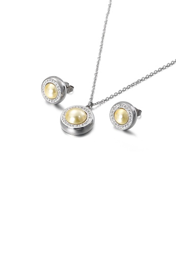 Glamorousky white Simple and Elegant Geometric Round Yellow Imitation Pearl 316L Stainless Steel Necklace and Stud Earrings Set with Cubic Zirconia 770B0AC9A6B3A0GS_1