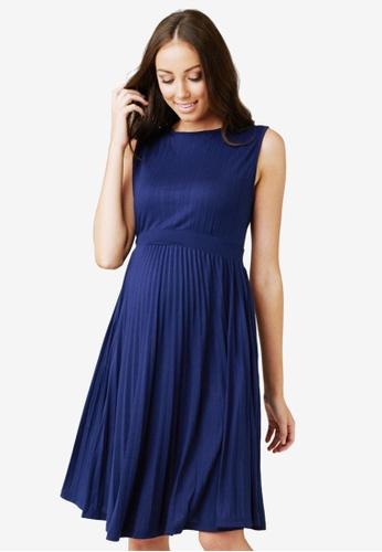 Ripe Maternity blue Maternity Knife Pleat Dress 7E622AAA29B1D7GS_1