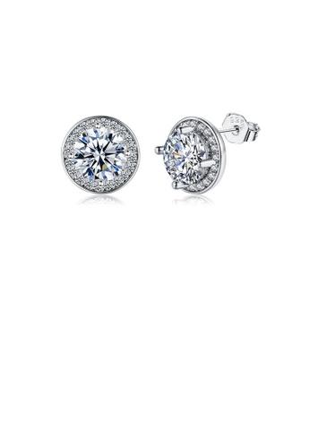 Glamorousky white Simple Bright Geometric Round Cubic Zirconia Stud Earrings FBD77AC0278679GS_1