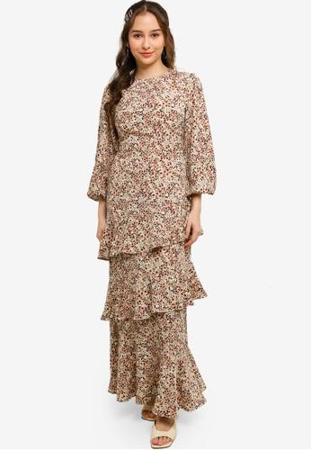 Lubna beige Ruffles Dress C0A2BAA156CA37GS_1