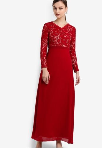 VERCATO red Bella Chiffon Lace Dress VE999AA90BJDMY_1