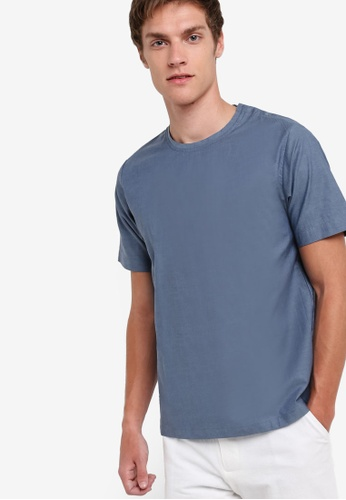 ZALORA blue Woven Tee With Button 24726AA2FE9BACGS_1