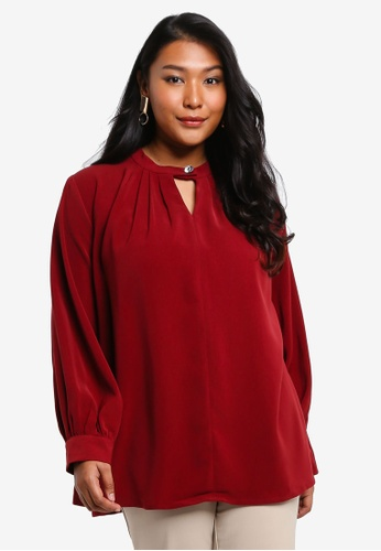 Ex'otico red Plus Size Long Sleeve Keyhole Blouse 2F60AAAE0FAFBCGS_1