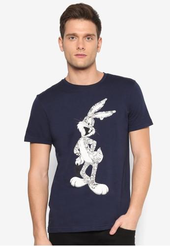 賓尼兔印花esprit 寢具圓領短袖TEE, 服飾, 印圖T恤