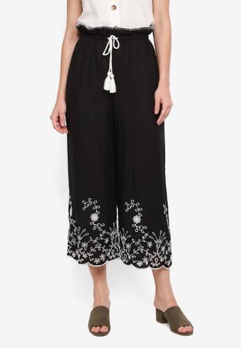 TOPSHOP black Button Crop Wide Leg Trousers F2AFFAAF2B18B3GS_1