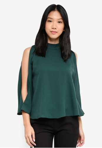 ZALORA green High Neck Cold Shoulder Top 545D0AA4A161BCGS_1