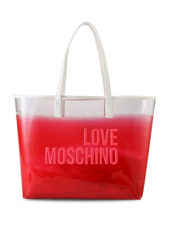 Love Moschino white and red Ombre Logo Tote Bag 418B8AC3A055A4GS_1