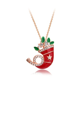 Glamorousky white Fashion Personality Plated Rose Gold Christmas Socks Pendant with Cubic Zircon and Necklace 48173AC9AD5460GS_1