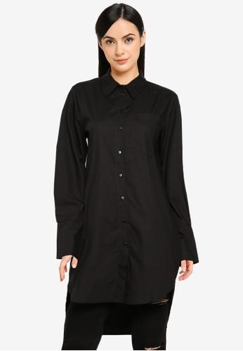 JACQUELINE DE YONG black Ulrikka Long Sleeves Longline Blouse A2957AAD47E1B1GS_1
