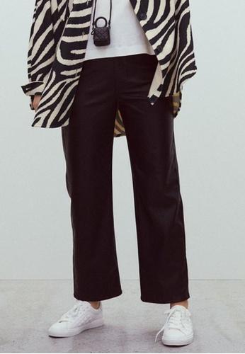 H&M black Imitation Leather Trousers 84A5EAAFF631F7GS_1