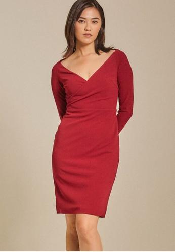 Dressing Paula red Long-Sleeved Roma Knit Bodycon Dress 3F1FDAA36A5D27GS_1