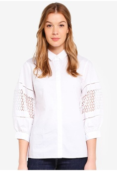 United Colors of Benetton white Cutwork Blouse 7482DAAE422826GS 1 dc81384ad