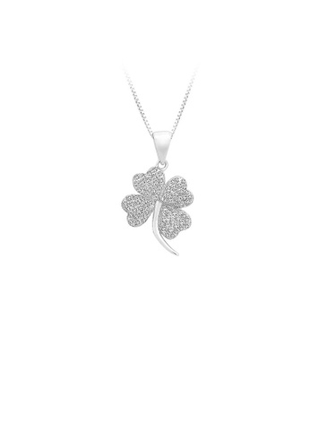 Glamorousky silver 925 Sterling Silver Four-leaf Clover Pendant with White Cubic Zircon and Necklace D3A54AC133DBFEGS_1