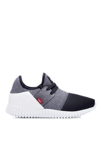 MIT。輕esprit 台中量。麻花萊卡布。節能涼感。3D彈簧運動鞋-09298-黑色, 鞋, 休閒鞋