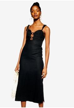 784d3b4e TOPSHOP black Linen Rich Horn Ring Slip Dress 36C9EAACAE417EGS_1