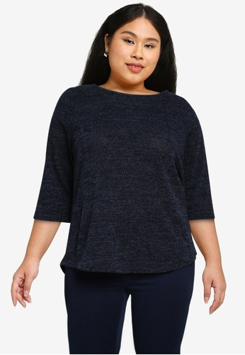 Only CARMAKOMA blue Plus Size Martha 3/4 Sleeves Top 40510AA0468DCFGS_1