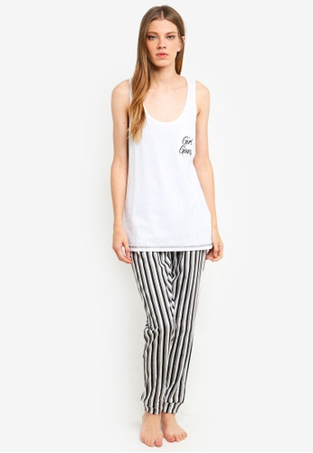 Brave Soul white Jersey Bottoms With Girl Gang Pocket Vest 82DACAA680DFF9GS_1