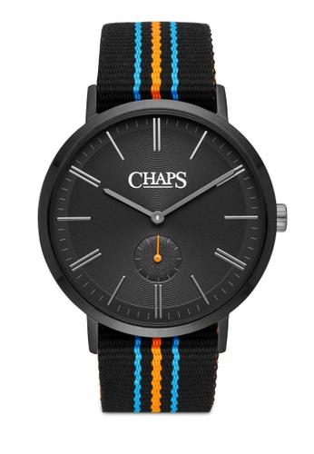 Chaps black and multi Chaps Dunham Black, Orange and Blue Grosgrain Watch CHP5027 CH325AC15LVKMY_1