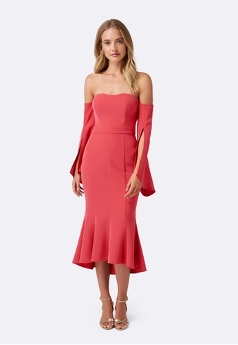Forever New red Brooke Fishtail Long Sleeve Dress 6347DAAC90A92EGS_1