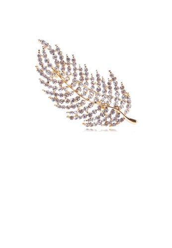 Glamorousky white Simple and Bright Plated Gold Leaf Brooch with Cubic Zirconia 9A0AAACAE76027GS_1