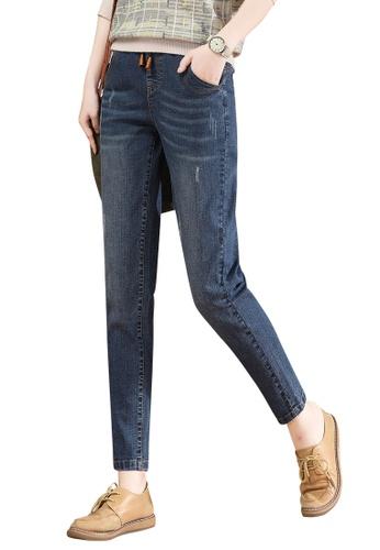 A-IN GIRLS navy Elastic Waist Grab Grain Jeans CC774AADAC6690GS_1