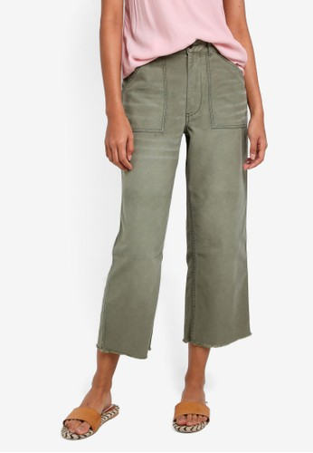 Abercrombie & Fitch green Olive Crop Utility Jeans AB423AA0RD78MY_1