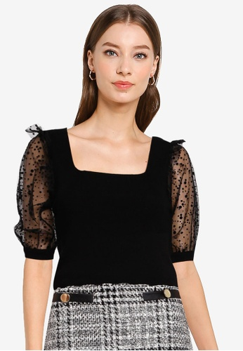 Miss Selfridge black Black Polka Dot Sleeve Square Neck Top D47CDAA7CA0542GS_1