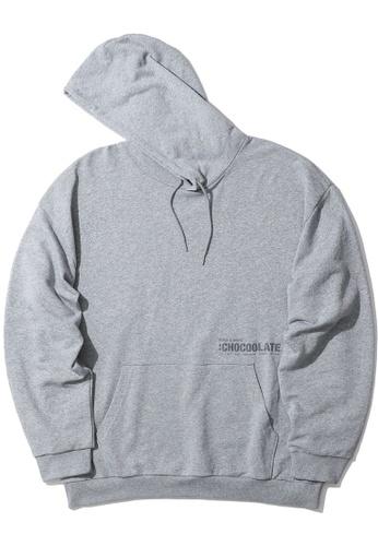 :CHOCOOLATE grey Logo print hoodie AE7D7AAD2EB690GS_1