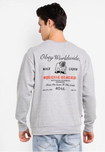 OBEY grey Special Reserve Crew Sweatshirt 3E6ABAA211B8E8GS_1