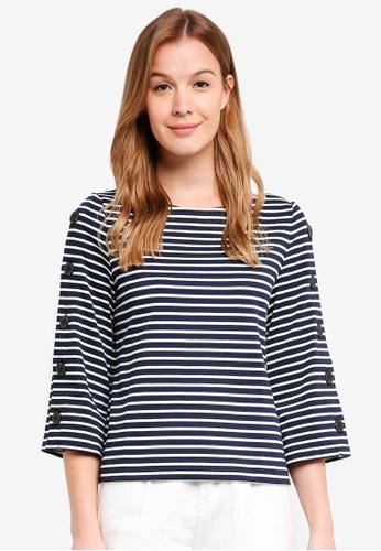 Banana Republic blue Stripe Button-Sleeve Top 5B790AAA5AD6F4GS_1