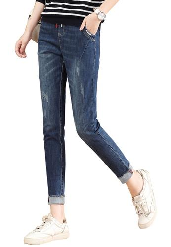 A-IN GIRLS navy Elastic Waist Grab Grain Jeans 915C7AA868FAC3GS_1