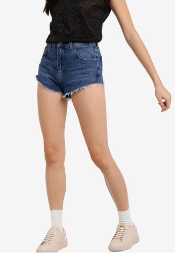 TOPSHOP blue Moto Highside Mom Shorts TO412AA88RWDMY_1