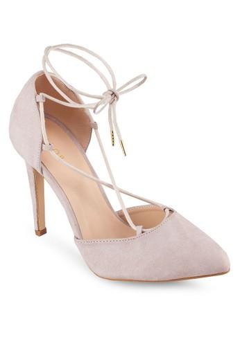 側鏤zalora退貨空繞踝繫帶高跟鞋, 女鞋, 厚底高跟鞋