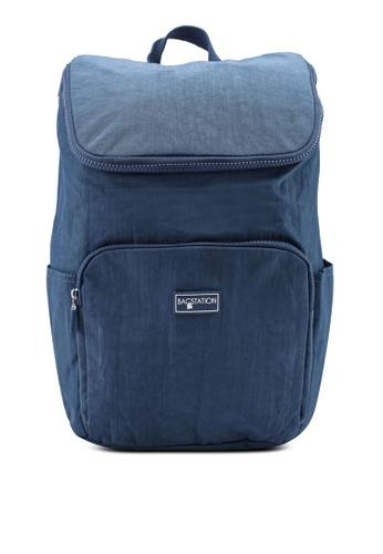 Bagstationz navy Crinkled Nylon Backpack E36B4AC061215DGS_1