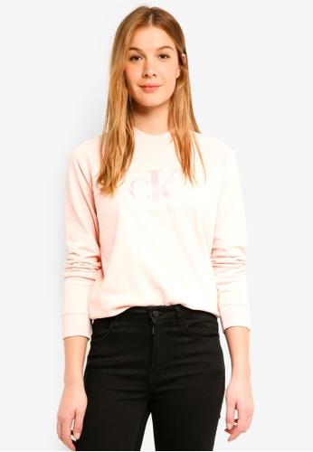 Calvin Klein pink A-Satin Monogram Rel Sweatshirt - Calvin Klein Jeans AAE32AAEDDFD4FGS_1