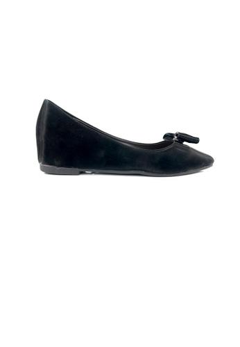 SHINE black Ribbon Embellished Satin Point Wedge Pump 702DDSHF51EC56GS_1