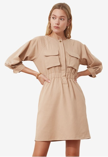 Trendyol beige Gathered Waist Pocket Dress 02475AA540AFFBGS_1
