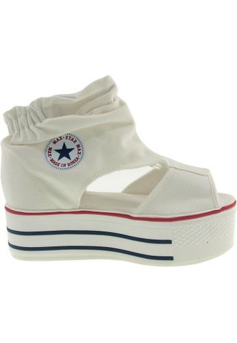 Maxstar white Maxstar Women's C50 Open Toe Elastic Ankle Platform Canvas Sandals US Women Size MA164SH01QRISG_1