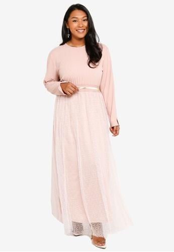 CURVA FABULOUS pink Ms Sasha Tulle Maxi Dress 82773AAF7E88B6GS_1