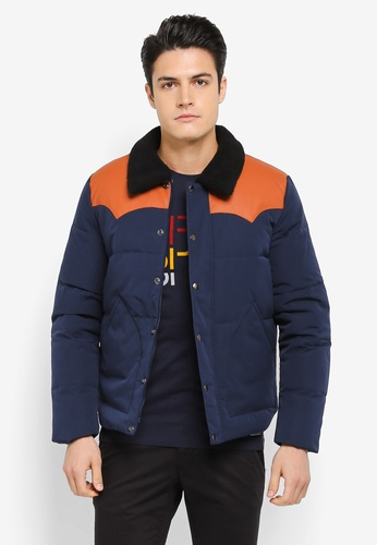 ESPRIT 海軍藍色 Outdoor Woven Regular Jacket ES374AA0SZUBMY_1
