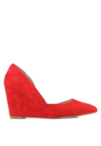 ZALORA 紅色 D'Orsay 楔型鞋 296E8SHED40522GS_1