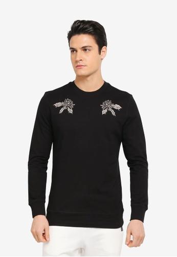 ZALORA black Embroidered Terry Sweatshirt 52F10AA8F0466DGS_1