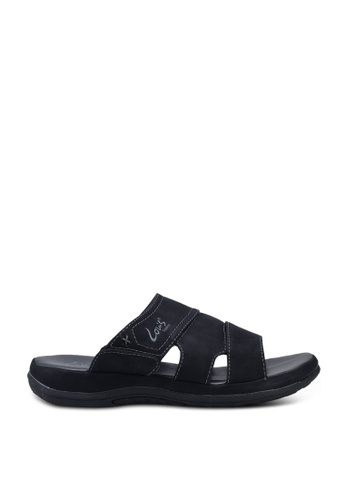 Louis Cuppers black Faux Leather Stitched Sandals 4BEE2SHE67527DGS_1
