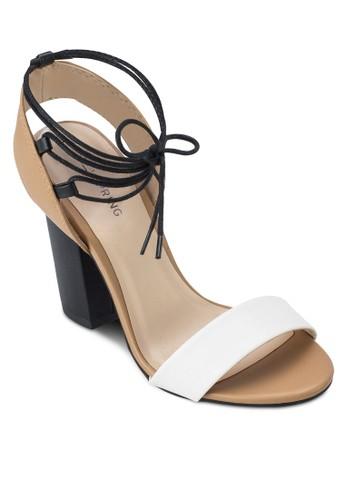 zalora 包包評價Hussey 撞色寬帶粗跟涼鞋, 女鞋, 細帶高跟鞋