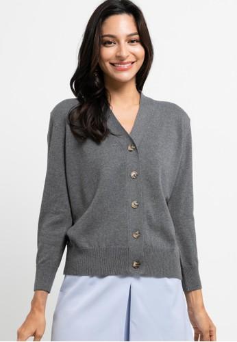 Noir Sur Blanc grey Ladies Cardigan with button 845C5AA2D7333CGS_1