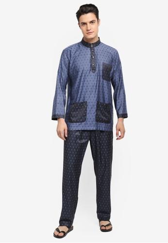 Mayasilk beige Baju Melayu SB Contrast Diamand Print FCFD0AA1E28476GS_1