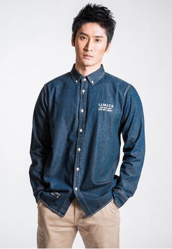 L.I.M.I.T.E blue Denim Printed Shirt 5A20FAA9E50CBCGS_1